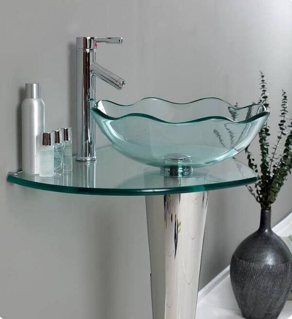pia de banheiro de vidro design elegante