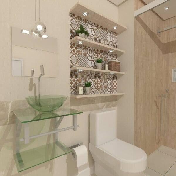 pia de banheiro de vidro esverdeado