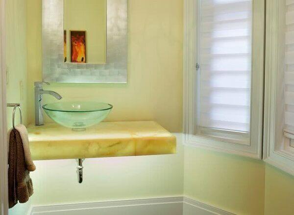 pia de banheiro de vidro mármore