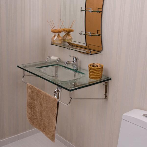 pia de banheiro de vidro toalha bege