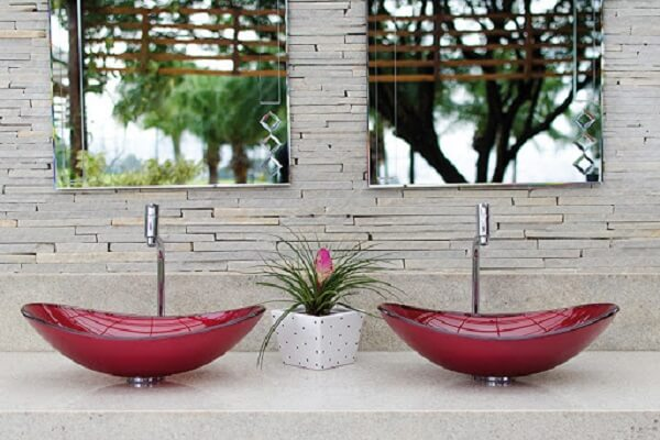 pia de banheiro de vidro vermelha dupla