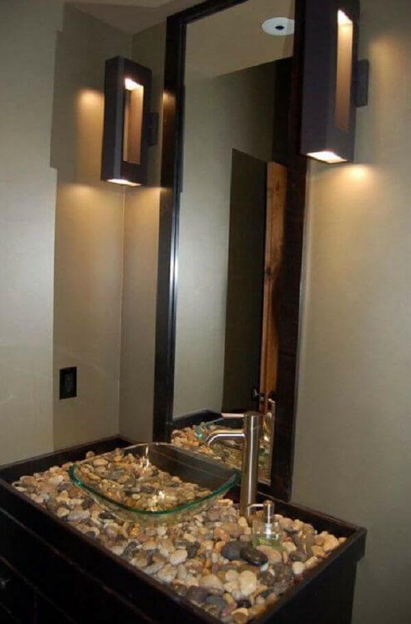 pia de banheiro de vidro gabinete com pedras