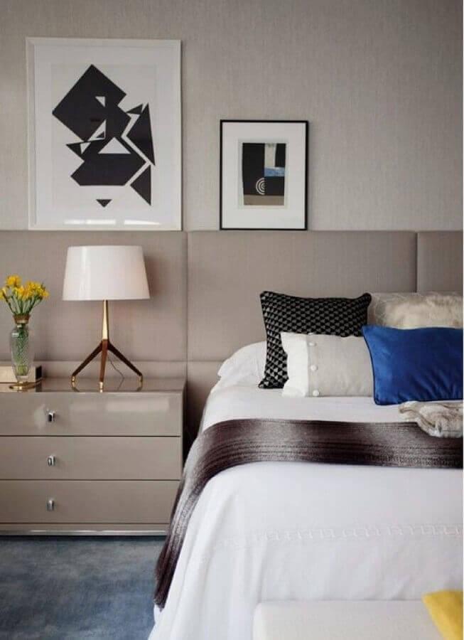 quadros decorativos abstratos para quarto de casal moderno Foto Paula Magnani Arquitetura