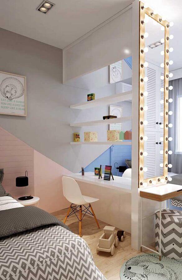 quarto decorado com cantinho de estudo feminino Foto Pinterest