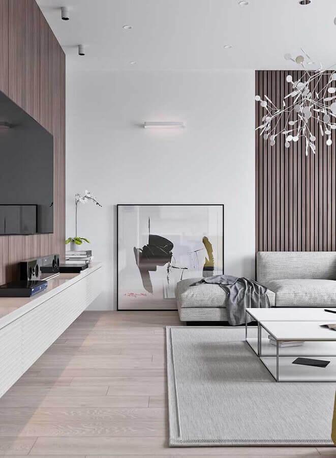 sala cinza decorada com quadro abstrato moderno Foto Ideias Decor