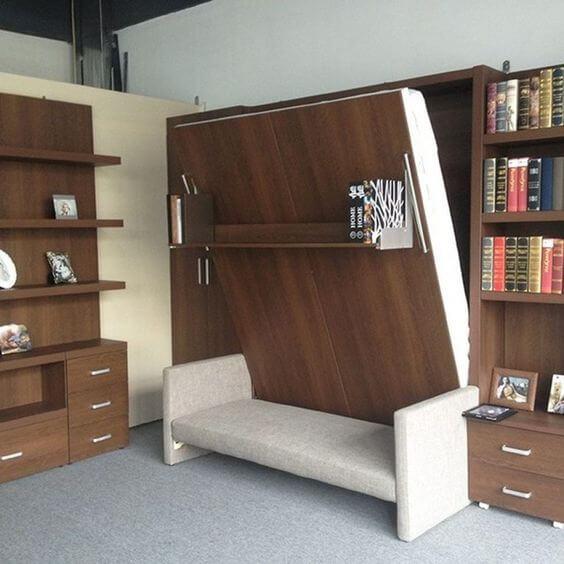 Sofá cama retrátil para ambiente de madeira