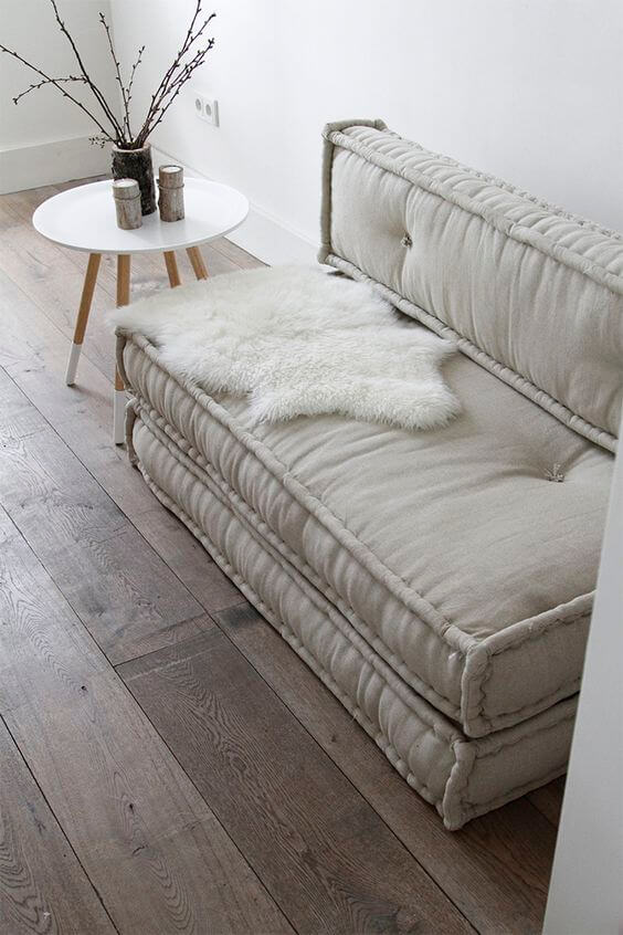 Sofá cama retrátil bege