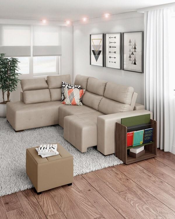 O sofá de canto retrátil traz beleza e muito conforto para sala de estar