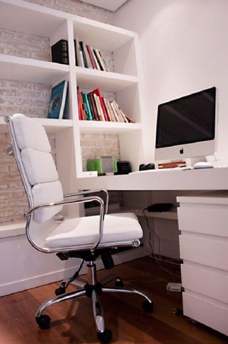 cadeira de escritório confortável branca para home office planejado Foto Pinterest