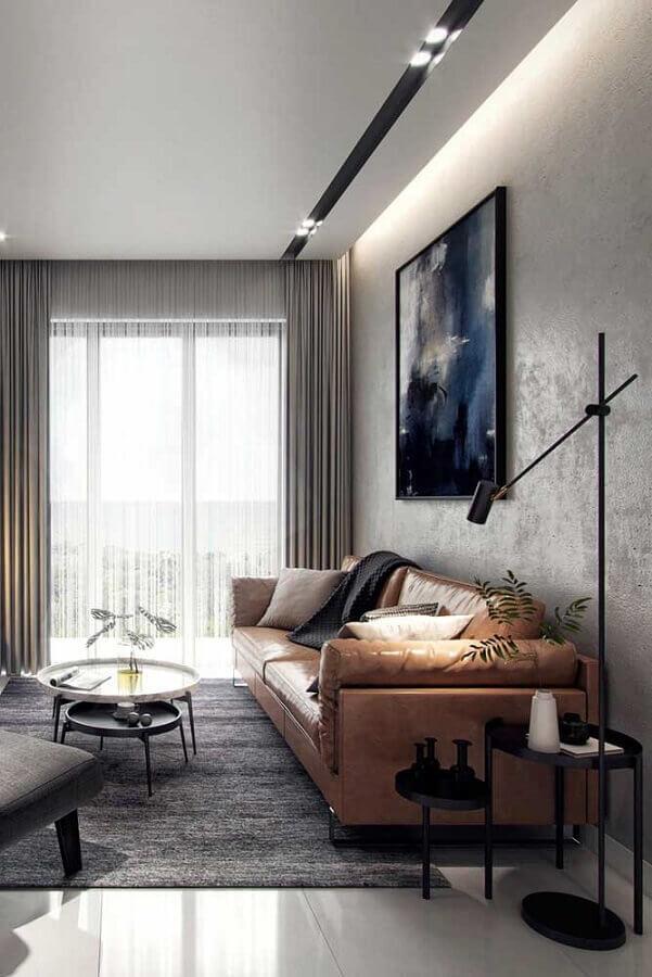conjunto de mesa de canto para sala com estilo industrial decorada com sofá de couro  Foto Futurist Architecture