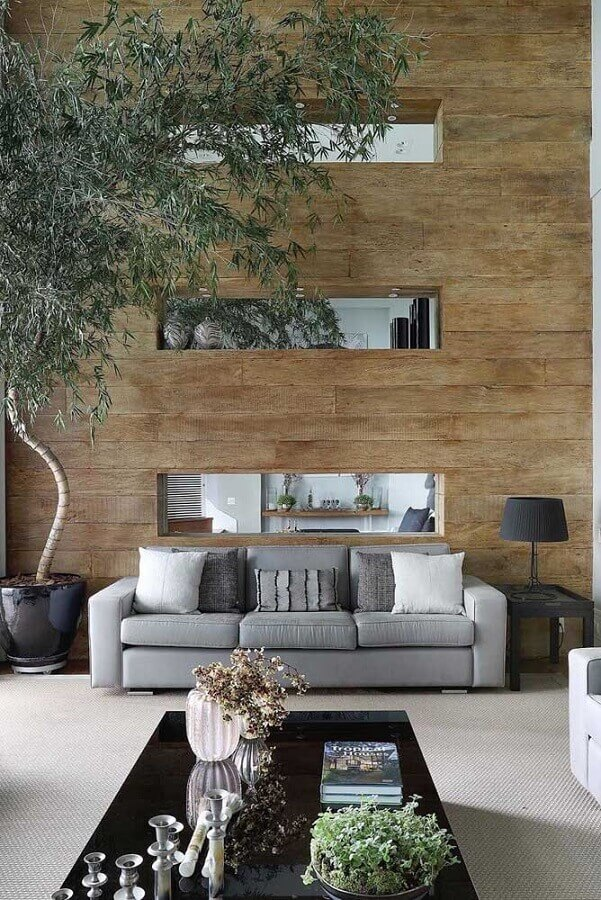decoração de sala com mesa de canto quadrada preta e sofá cinza Foto Pinterest