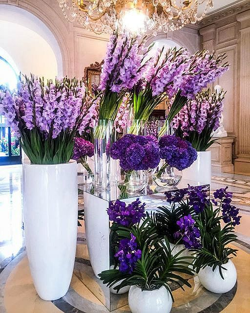 Vasos de flores roxas na decoração