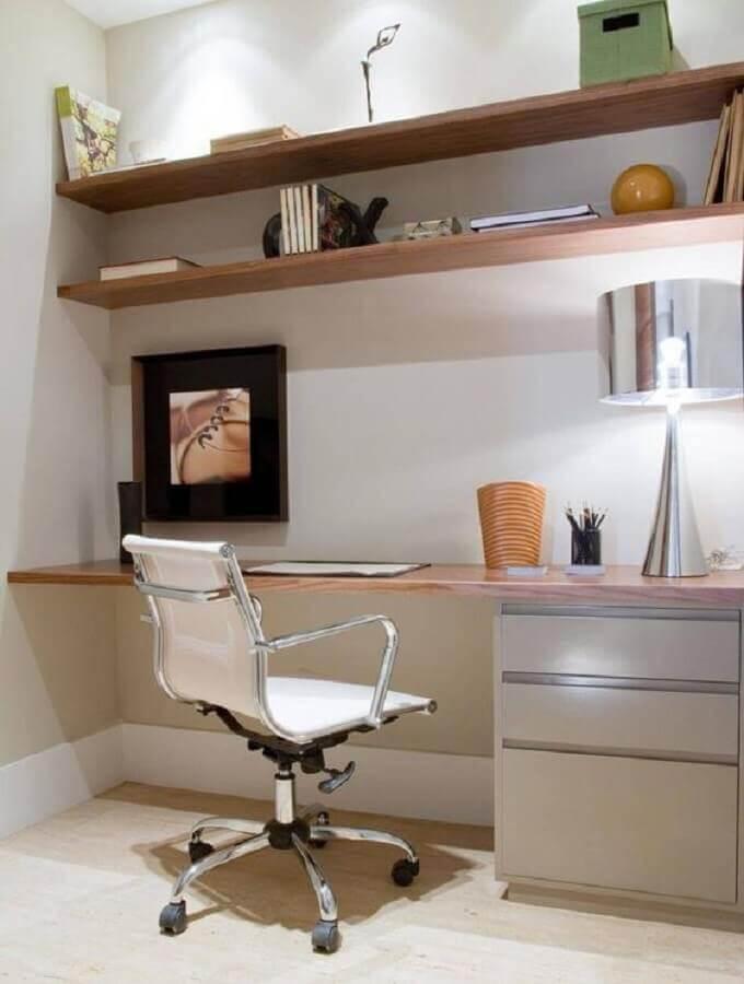 home office decorado com cadeira de escritório branca Foto Pinterest