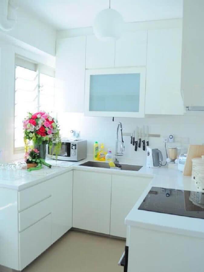 ideias de bancada para cozinha pequena em U toda branca Foto Home Fashion Trend