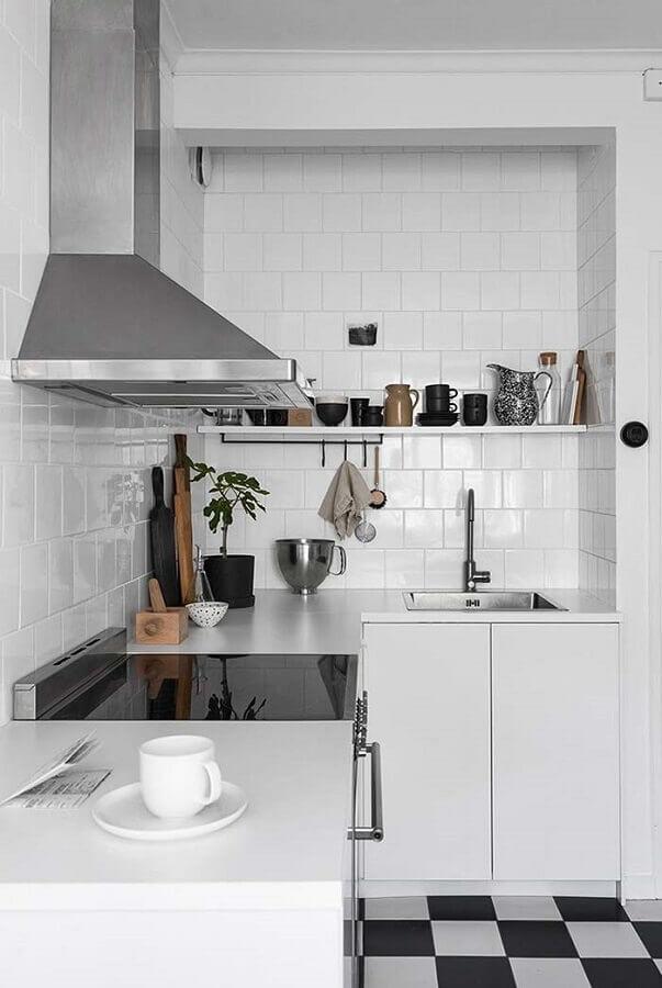 ideias de bancada para cozinha pequena planejada toda branca Foto Home Fashion Trend