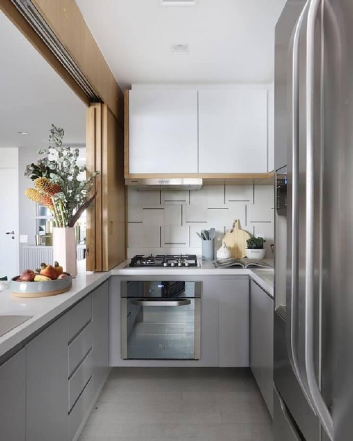 ideias de decoração para cozinha pequena cinza moderna Foto Archilovers