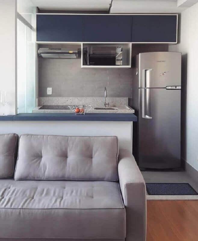 ideias para cozinha americana pequena cinza e azul Foto Pinterest