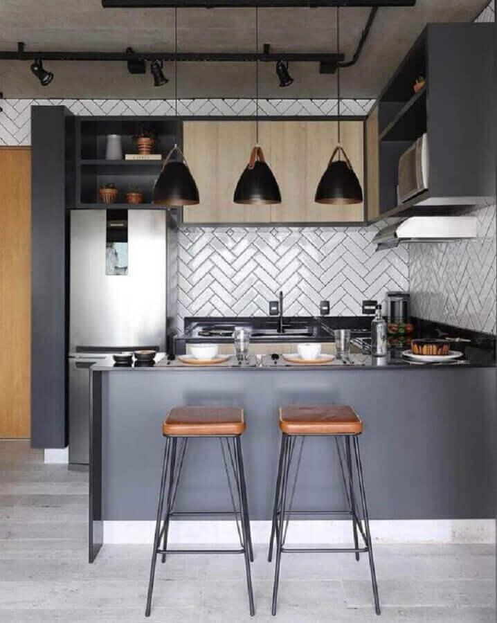 ideias para cozinha americana pequena e moderna com armários cinza Foto Futurist Architecture