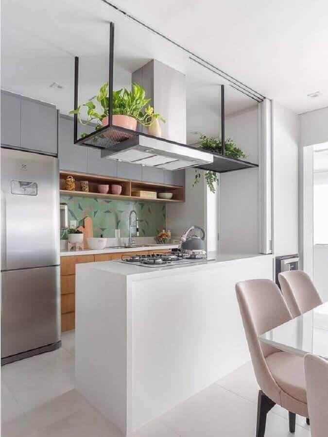 ideias para cozinha americana pequena moderna com cooktop na bancada Foto Pinterest