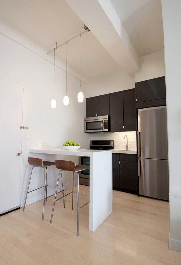ideias para cozinha americana pequena simples preta e branca Foto Eu Decoro