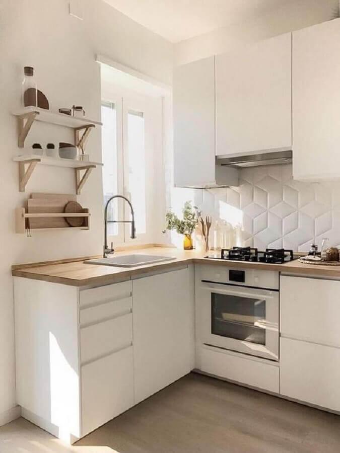 ideias para cozinha pequena branca com revestimento 3d Foto Pinterest