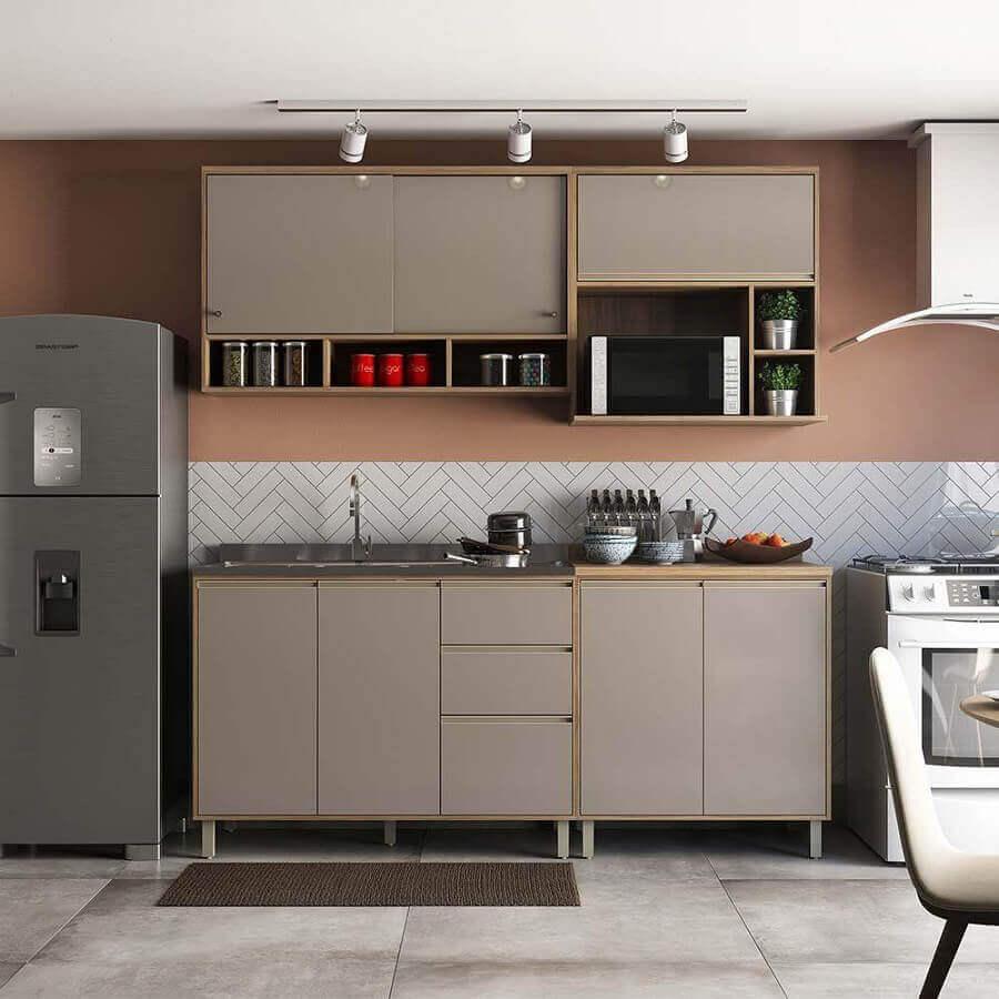 ideias para cozinha pequena com armários modulados Foto Pinterest