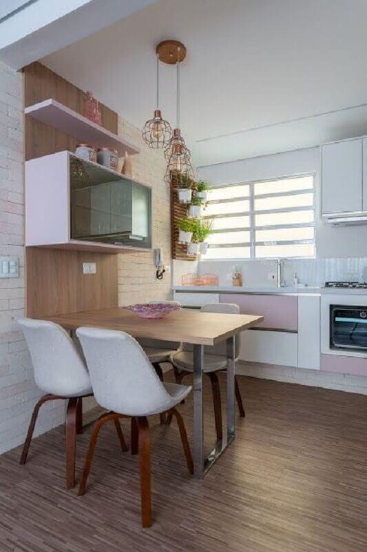 ideias para cozinha pequena com mesa planejada Foto Jeito de Casa