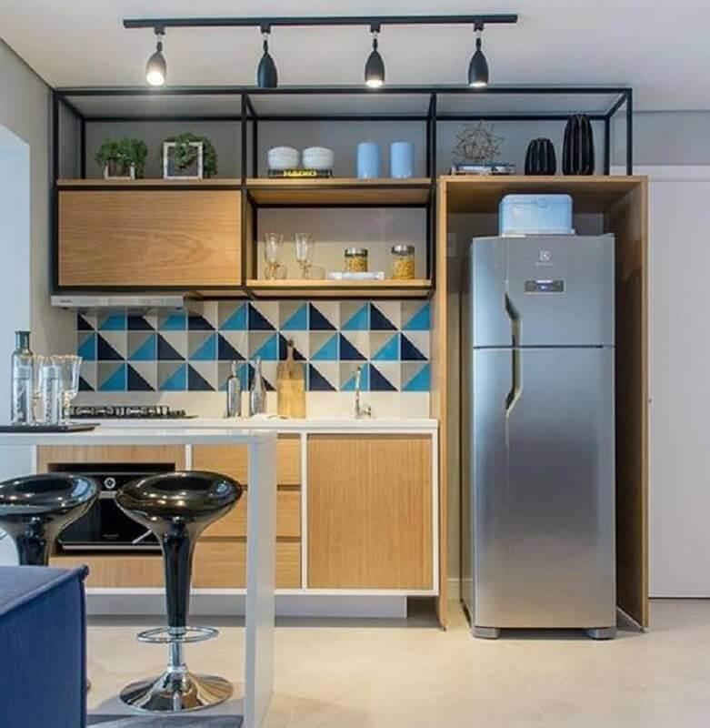 ideias para cozinha pequena planejada com estilo industrial Foto Pinterest