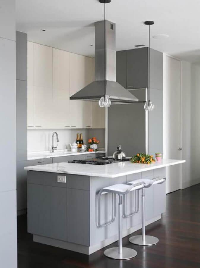 ideias para cozinha pequena planejada com ilha cinza e branca Foto Home Fashion Trend