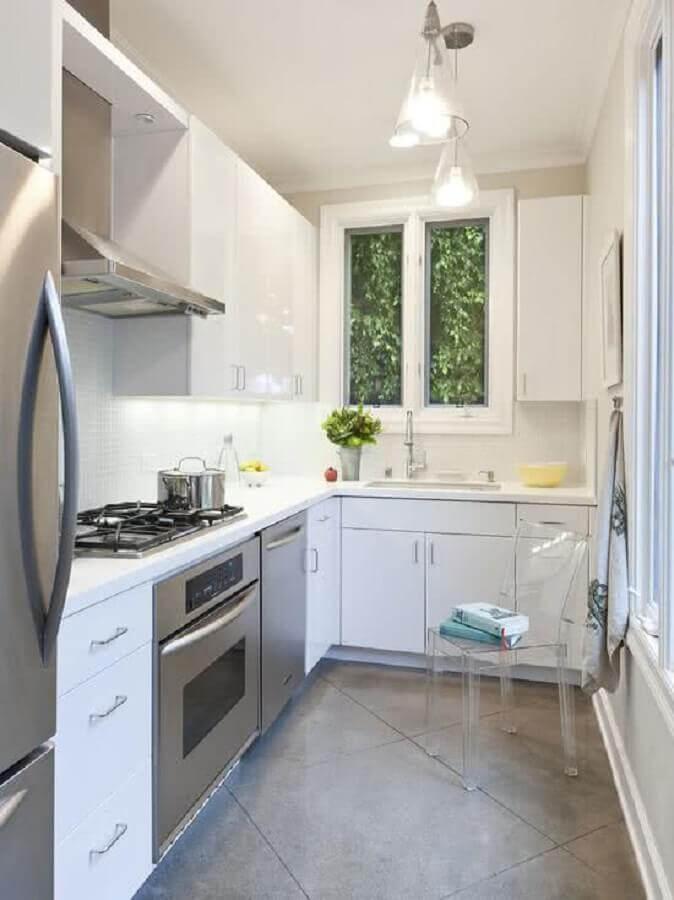 ideias para cozinha pequena toda branca planejada Foto CoachDecor