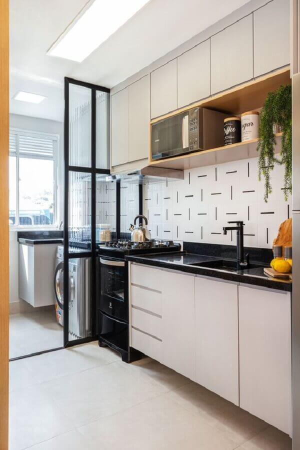 ideias para decorar cozinha pequena integrada com lavanderia Foto Rúbia M. Vieira Interiores