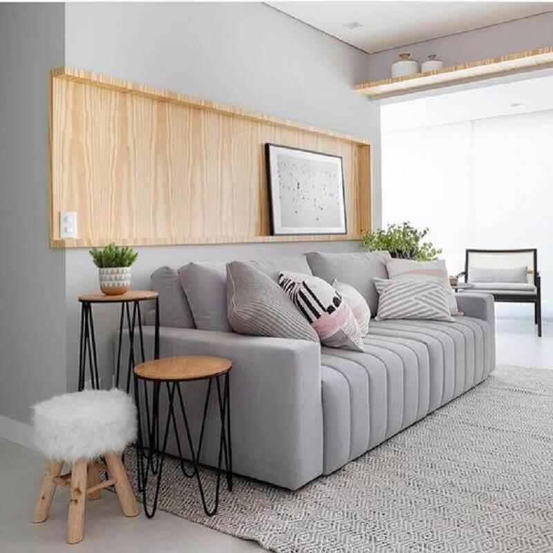 mesa de canto redonda moderna para decoração de sala cinza Foto Pinterest