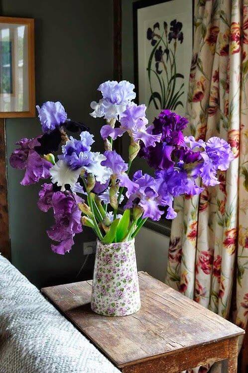 Vaso flor roxa na decoração de casa