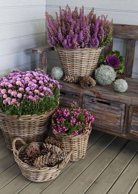 Decoração rústica com vaso de flores roxas
