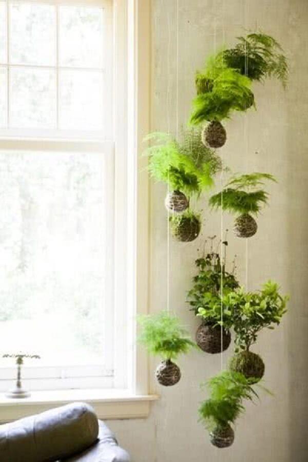 As kokedamas são alternativas de suporte para vaso de planta suspenso