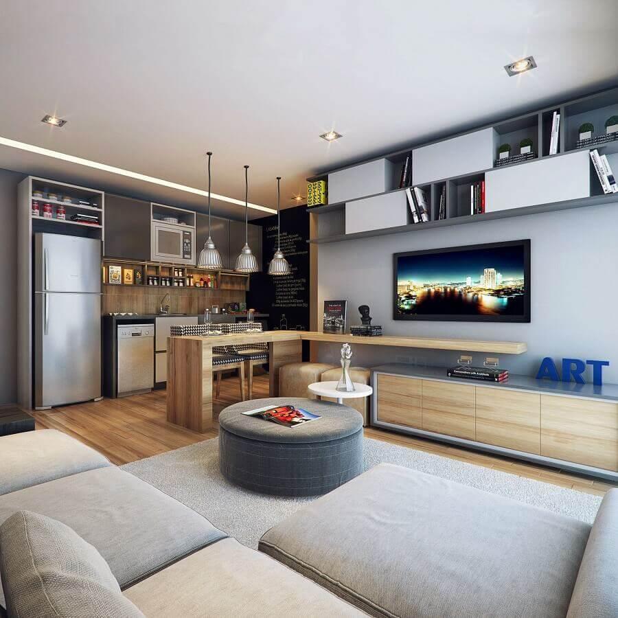 casas em tons de cinza decorada com ambientes integrados Foto Triplex Arquitetura