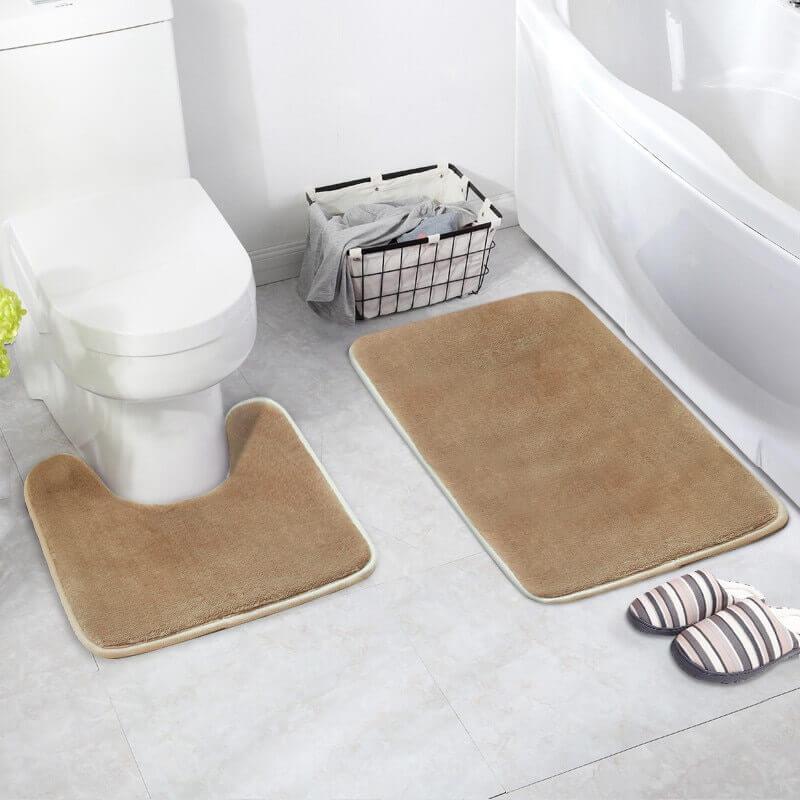 decoração de banheiro com tapete bege Foto DHgate