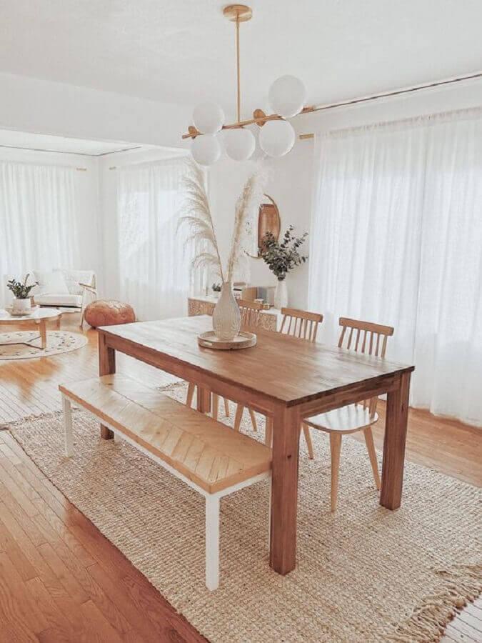 decoração estilo escandinavo para sala de jantar com tapete sisal bege Foto Apartment Therapy