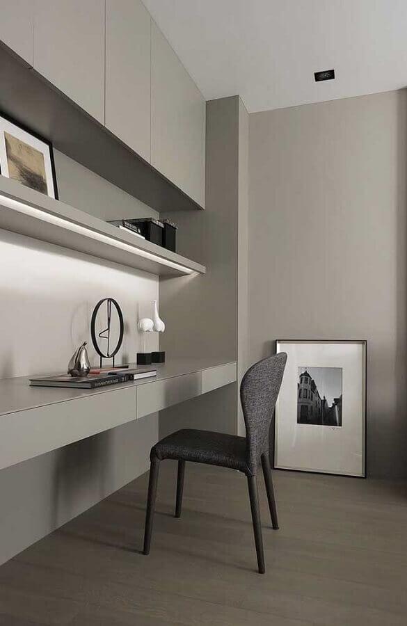 decoração minimalista para escritório em tons de cinza  Foto Home Fashion Ttrend