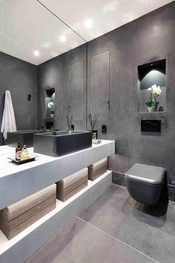 decoração moderna para banheiro em tons de cinza Foto Houzz