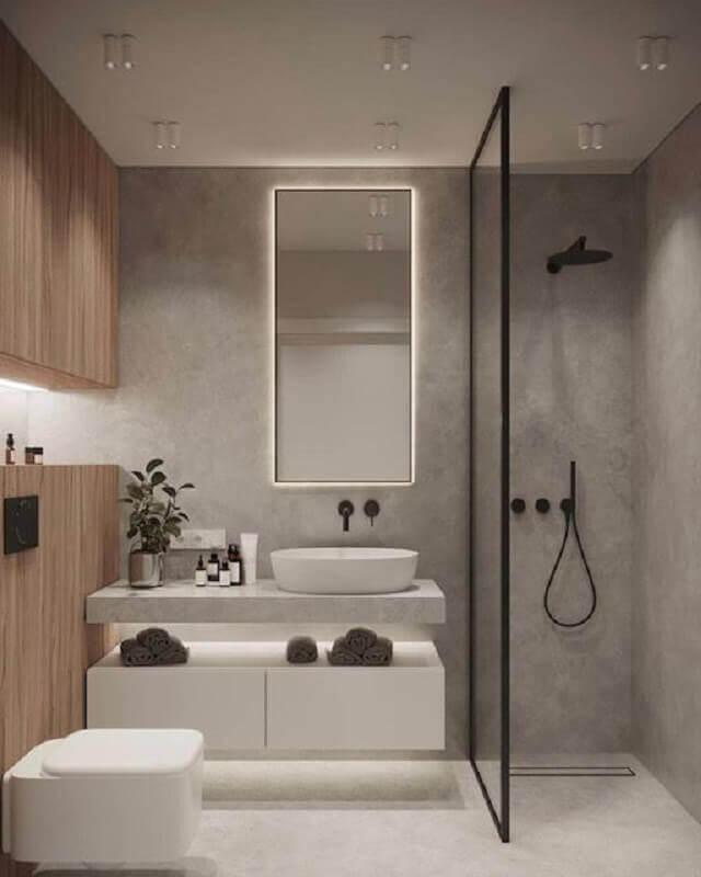 decoração moderna para banheiro em tons de cinza claro Foto Futurist Architecture