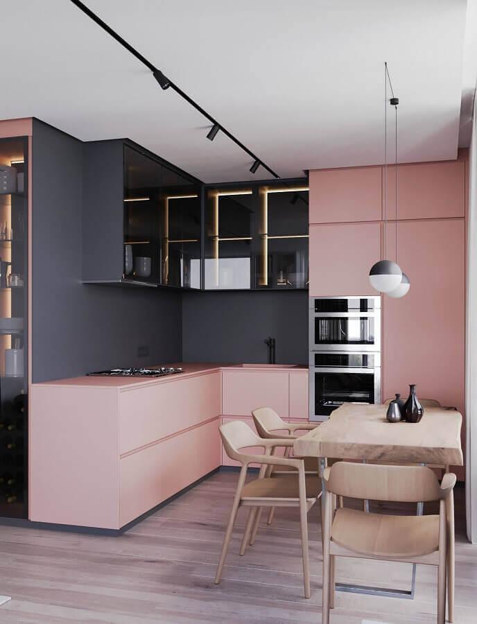 decoração para cozinha moderna cinza e rosa  Foto Futurist Architecture