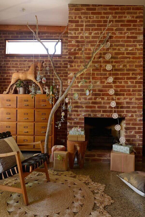 decoração rústica com tapete sisal bege redondo Foto Home Fashion Trend