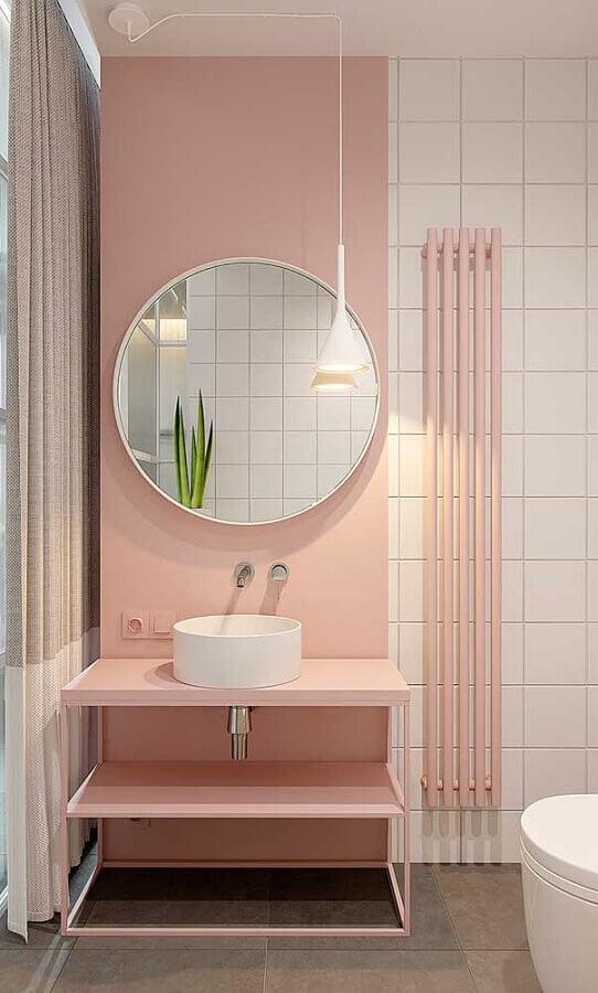 espelho de parede para banheiro rosa e branco minimalista Foto Apartment Therapy