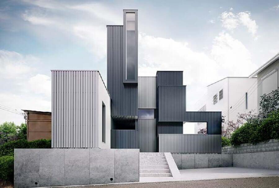 fachadas de casas em tons de cinza Foto Revista VD