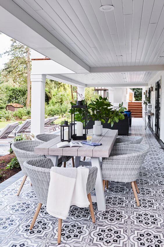 Mesa para varanda gourmet cinza