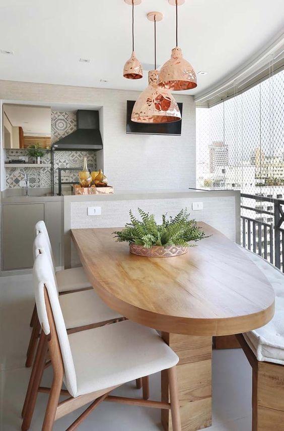 Mesa para apartamento gourmet oval