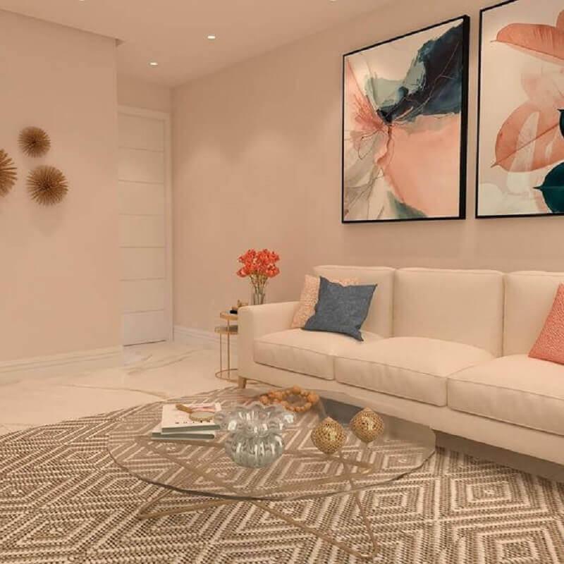 quadros abstratos para sala decorada com tapete bege geométrico  Foto Jeito de Casa