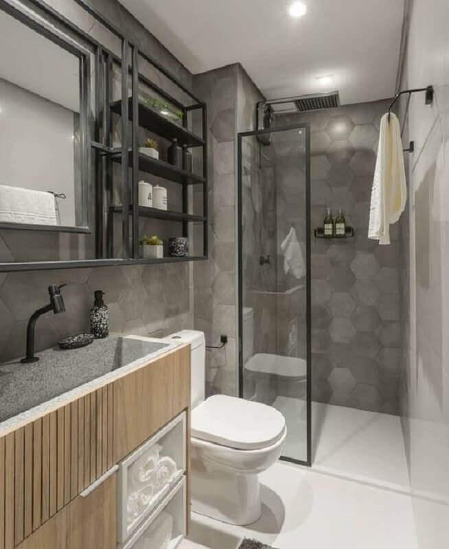 revestimento hexagonal em tons de cinza para decoração de banheiro  Foto Jeito de Casa