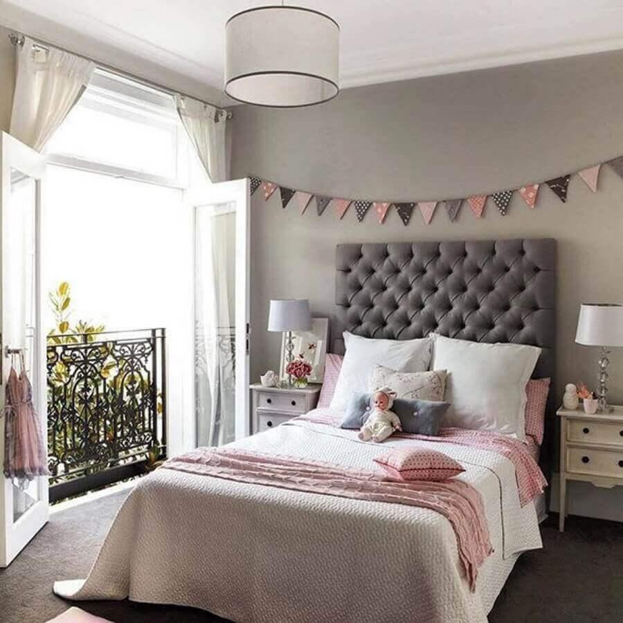tons de cinza e rosa para quarto feminino com cabeceira capitonê Foto Pinterest